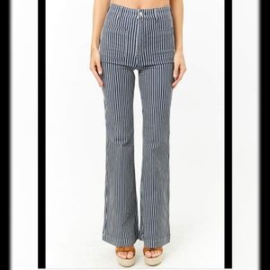 Forever 21 high waisted striped flare jeans